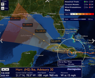 Illustration for article titled Stormpulse Tracks Hurricanes, Projects Paths