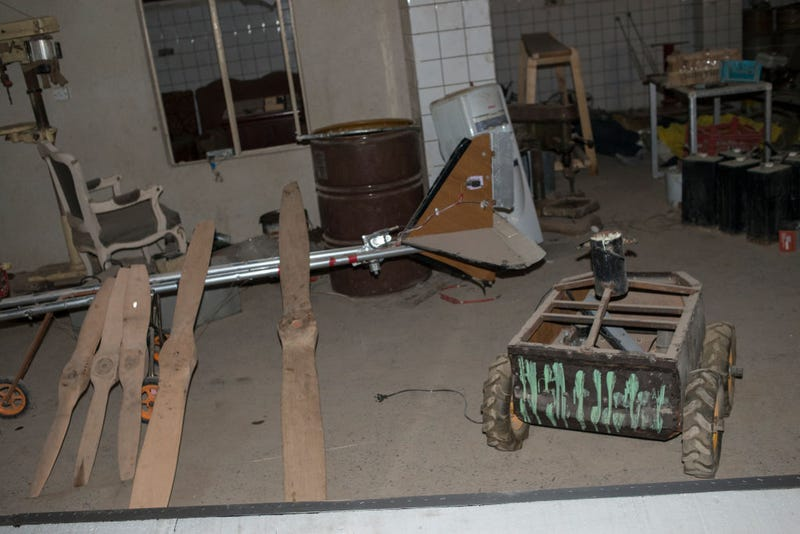 A drone and a mobile IED at an Islamic State factory discovered by Iraqi forces today on June 23, 2017 in the frontline neighborhood of Al-Shifa, on the edge of the Islamic State occupied Old City of west Mosul (Photo by Martyn Aim/Getty Images)