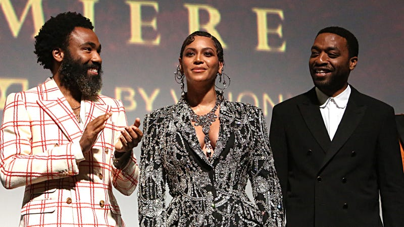 Donald Glover, Beyonce Knowles-Carter, and Chiwetel Ejiofor attend the World Premiere of Disney's The Lion King on July 09, 2019 in Hollywood, Calif.