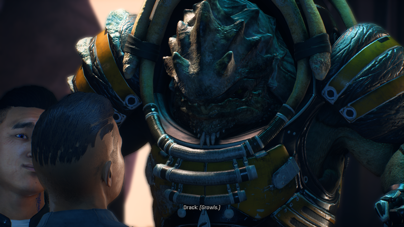 This is Drack, your Krogan squadmember. He's a VERY old, sometimes grumpy warrior. And yes, I too can see how janky my character's facial expression looks.