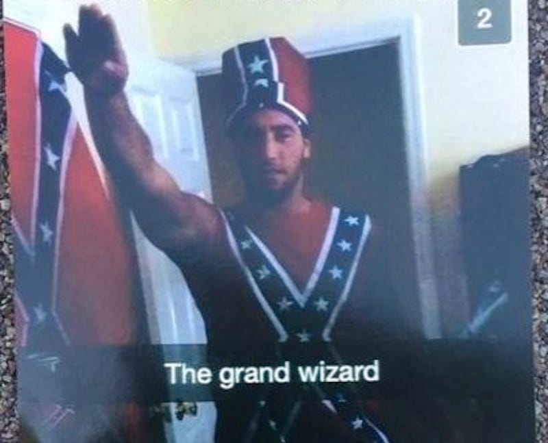 Illustration for article titled Pace University Football Captain Gives Nazi Salute While Wearing Confederate Flag Outfit