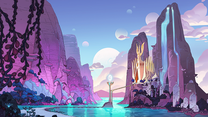 The lush, purple world of She-Ra.
