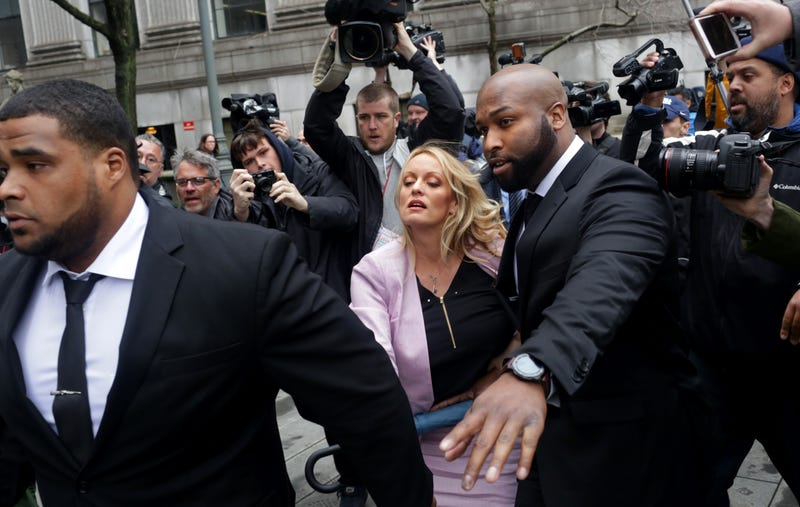 Adult-film actress Stormy Daniels (real name Stephanie Clifford) arrives at the United States District Court for the Southern District of New York for a hearing related to Michael Cohen, President Donald Trump's longtime personal attorney and confidant, on April 16, 2018, in New York City.