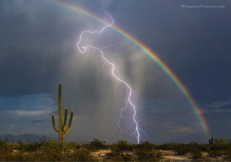rainbow lightning is a rare and dazzling sight