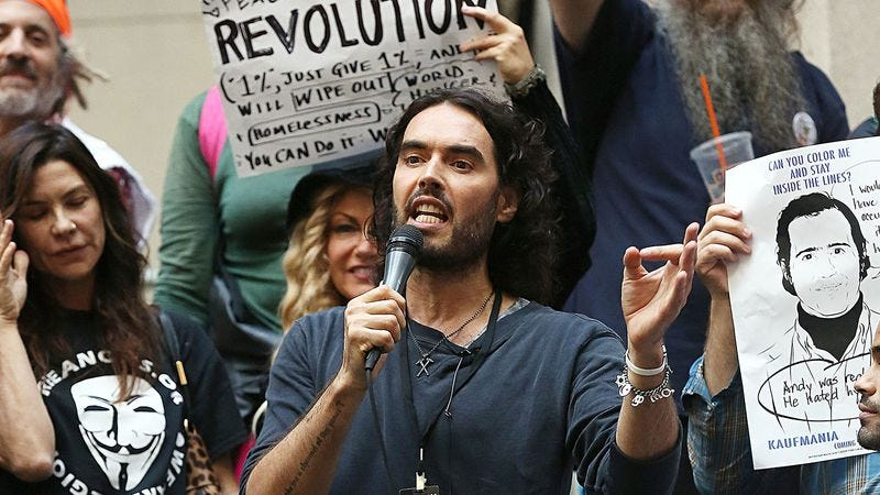 Illustration for article titled Russell Brand rants about the economy for 101 goddamn minutes in The Emperor's New Clothes