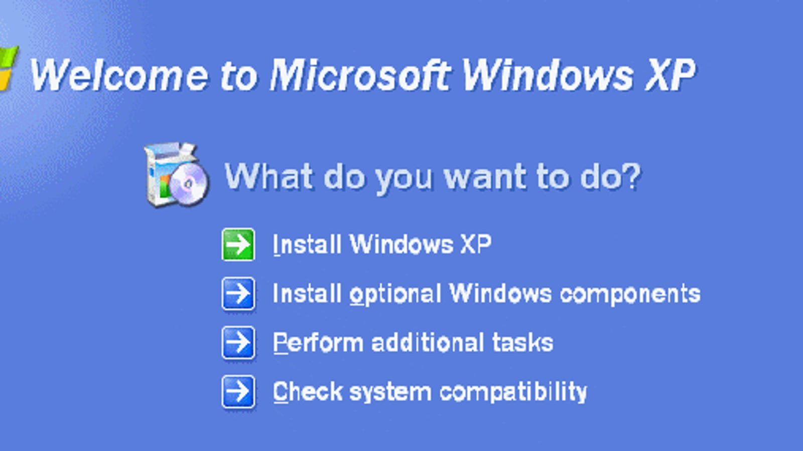 How to install Windows XP from a disk: Instruction