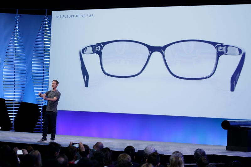 Facebook CEO Mark Zuckerberg talks about augmented reality glasses during the keynote address at the F8 Facebook Developer Conference Tuesday, April 12, 2016, in San Francisco.
