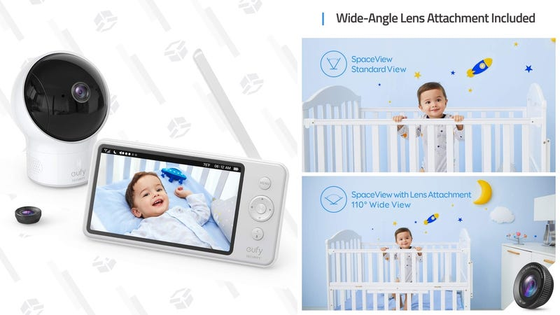 Eufy SpaceView Baby Monitor | $110 | Amazon | Clip the $30 coupon and use promo code BBMHHH22Eufy SpaceView S Baby Monitor With Crib Mount and Lullaby Mode| $153 | Amazon