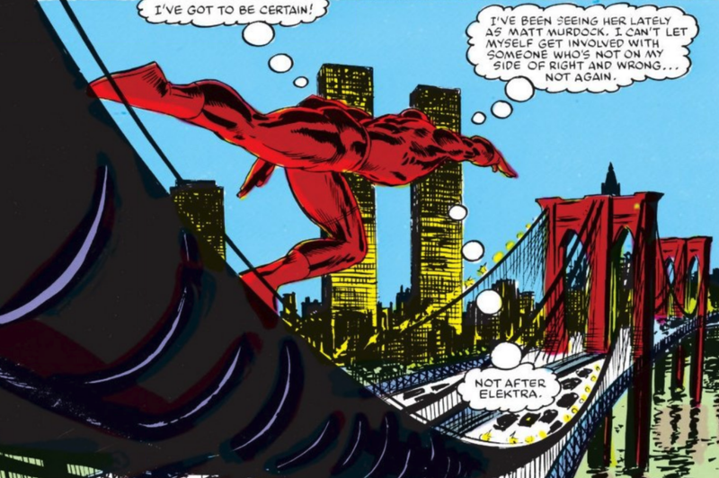 A beautiful panel where Daredevil races across the Brooklyn Bridge