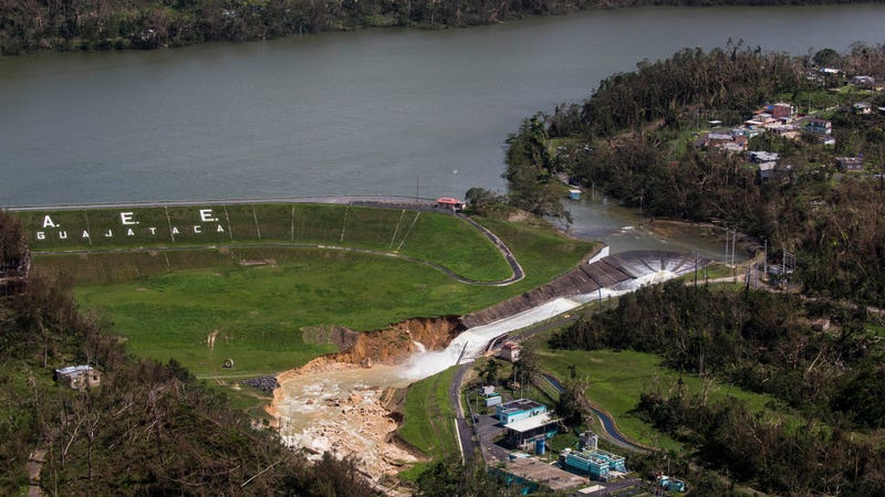 The Guajataca Dam in Quebradillas, Puerto Rico, which officials worry will break at any moment. Image via the AP.