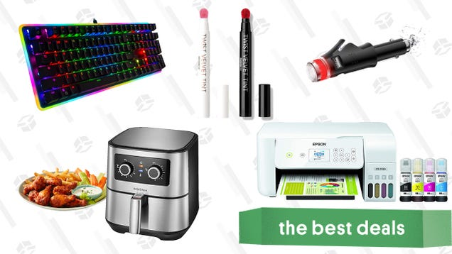 Saturday s Best Deals: Epson EcoTank Wireless Printer, Insignia Air Fryer, K-Beauty Velvet Lip Tints, Rosewill Mechanical Gaming Keyboard, and More