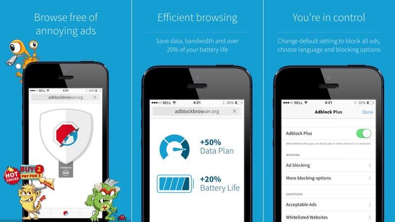 Illustration for article titled Adblock Plus lanza oficialmente un navegador para bloquear anuncios en el móvil