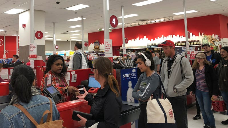 A Target store in San Francisco is experiencing long queues due to a software problem.