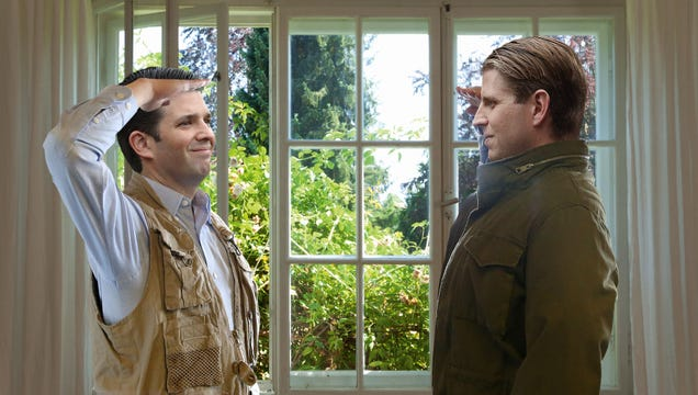 Surrendering Trump Boys Solemnly Salute Each Other Before Leaping From White House First-Story Window