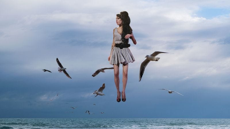 Amy Winehouse floating over the ocean.