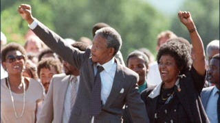 Nelson Mandela and wife Winnie raise their fists upon his release from prison in 1990.Alexander Joe/Getty Images