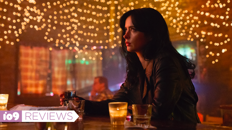 Jessica Jones having a drink.