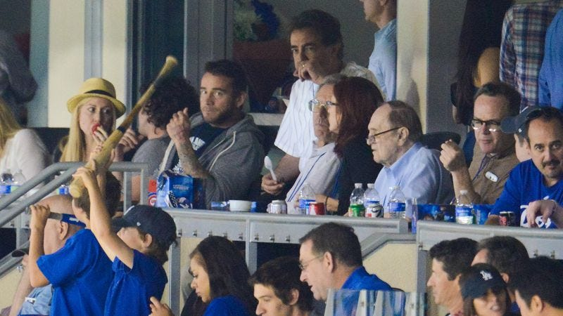 Bob Newhart (fourth from the right) watches the Chicago Cubs play the Los Angeles Dodgers. Also, CM Punk and Joe Mantegna are there! (Photo: Noel Vasquez/Getty Images)