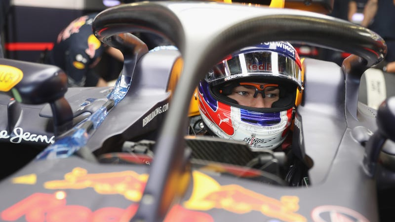 Red Bull Formula One test driver Pierre Gasly running the halo concept at Silverstone Circuit in 2016. Photo credit: Mark Thompson/Getty Images