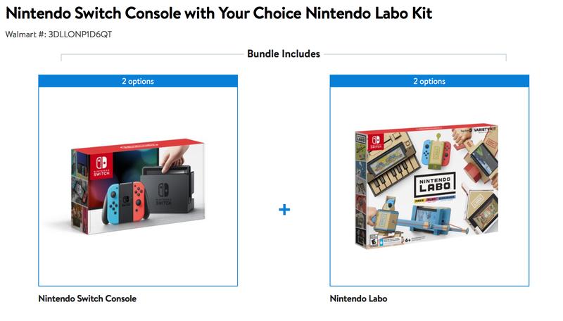 Consola Nintendo Switch + el Labo de tu elección | $339 | WalmartGráfico: Walmart