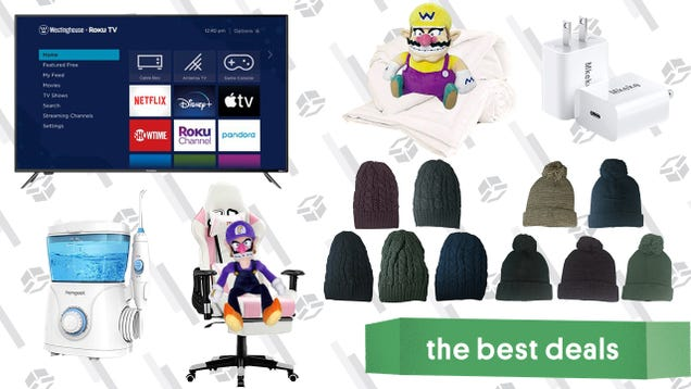Saturday s Best Deals: 65-Inch Roku 4K TV, Water Flosser, Ergonomic Massage Gaming Chair, Knit Cap Sets, Fast iPhone 12 Charger, and More