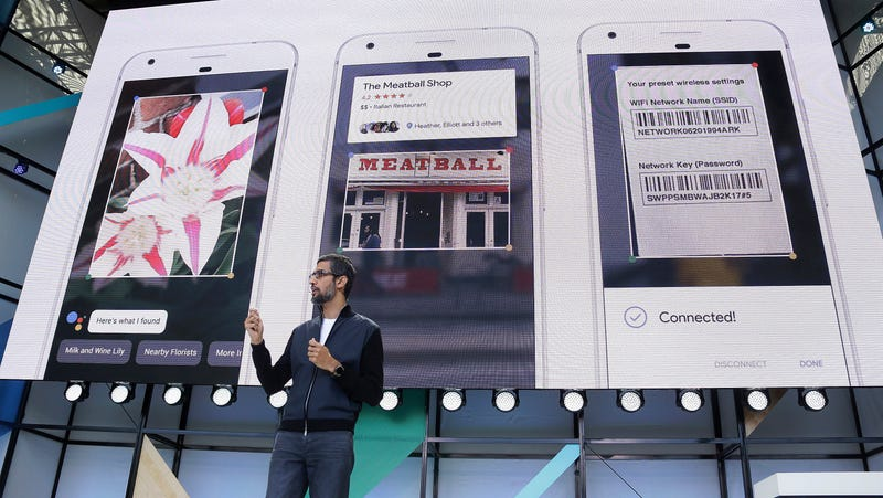 Google CEO Sundar Pichai discussing Lens and Google Assistant at a 2017 event.