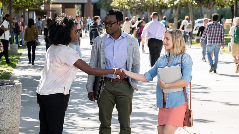 Kirby Howell-Baptiste, William Jackson Harper, and Kristen Bell in NBC's The Good Place