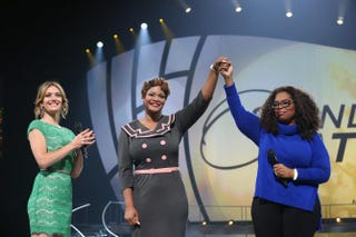 Team Toyota's Amy Purdy and Oprah Winfrey with Army Capt. Jas Boothe (center), founder of Final Salute Inc.Courtesy of Harpo Studios Inc./George Burns