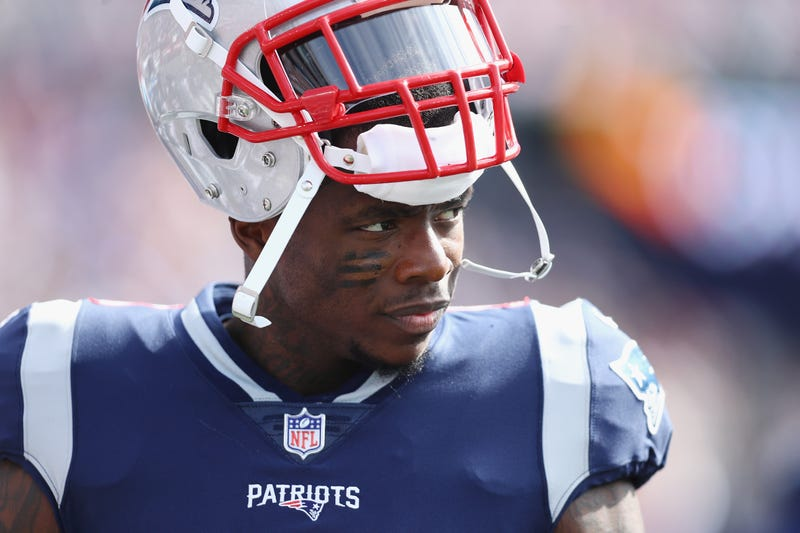 Josh Gordon #10 of the New England Patriots looks on during the first half against the Miami Dolphins at Gillette Stadium on September 30, 2018 in Foxborough, Massachusetts.