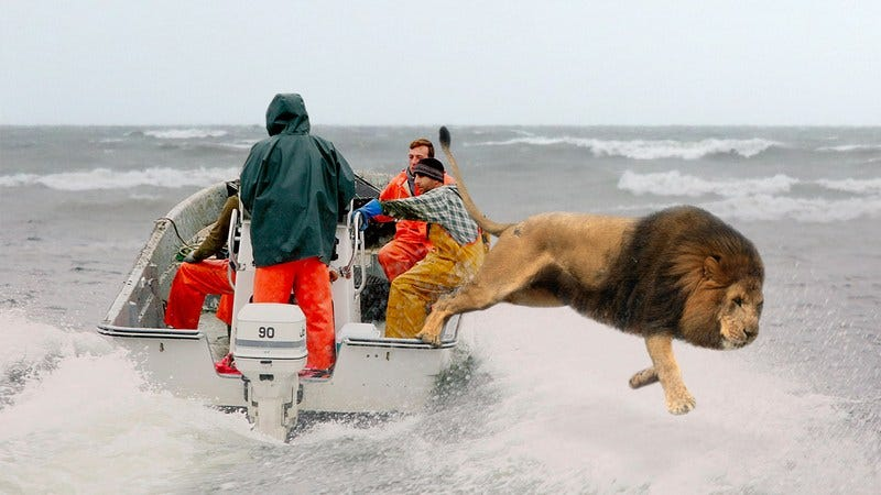 A lion jumping out of a boat into Lake Michigan