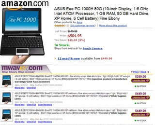 Illustration for article titled Eee PC 1000H Price Drops Even Lower; $450 on Amazon, $360 on MWave