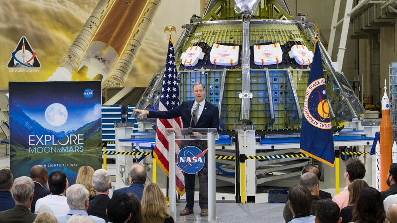 NASA Administrator Jim Bridenstine at a March address at the Neil Armstrong Operations and Checkout Building at Kennedy Space Center.