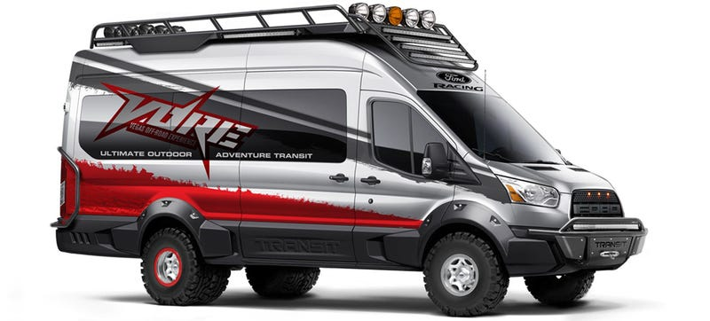 Illustration for article titled This Ford Raptor-Style Transit Van Is The Ultimate Off-Road People Mover