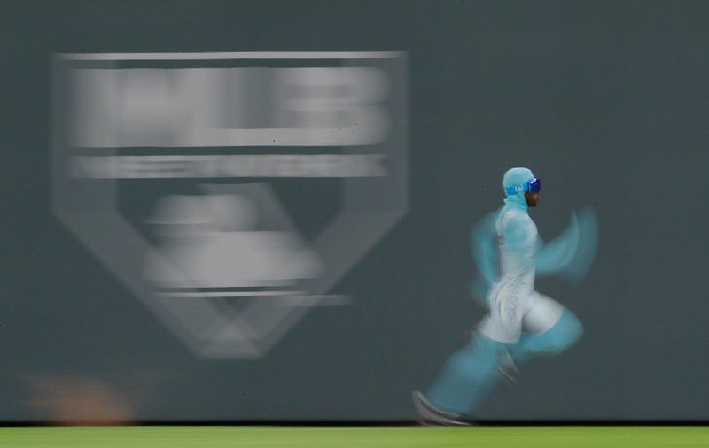 The Freeze races around the outfield after the fifth inning of the game between the Atlanta Braves and the Los Angeles Dodgers at SunTrust Park on Aug. 1, 2017, in Atlanta.