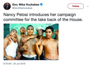 Illustration for article titled Mike Huckabee Tweets Racist Photo Associating Nancy Pelosi With MS-13 Gang