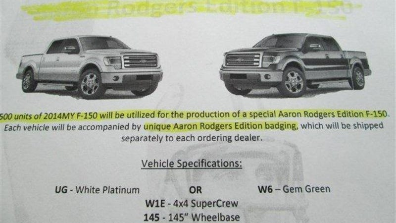 Illustration for article titled 'Aaron Rodgers Edition' F-150 Might Be Saddest Dealership Promo Ever