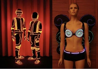 Illustration for article titled Daft Punk's Designer Shows DIY Glowing Outfit Tricks