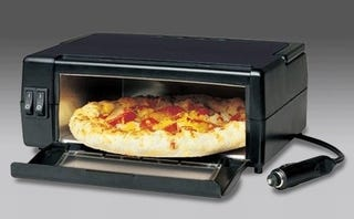 Illustration for article titled 12V Plug-Powered In-Car Pizza Oven Promises Traveling Pie Bliss