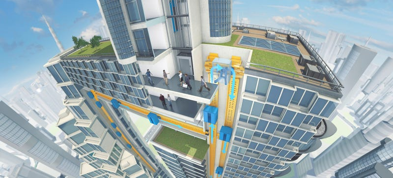 Illustration for article titled Future Elevators Will Use Maglev to Go Up, Down—and Sideways