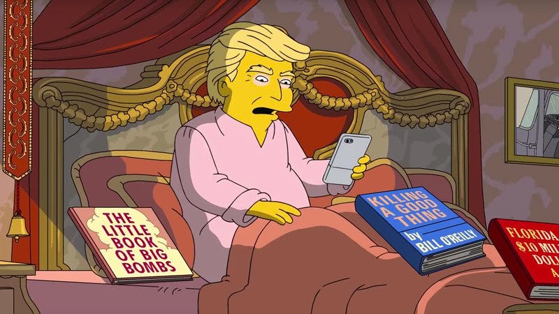 Illustration for article titled The Simpsons salutes Donald Trump on his awful first 100 days in office
