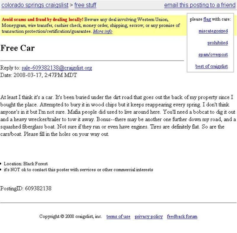 The Ten Weirdest Craigslist Car Ads Ever Made