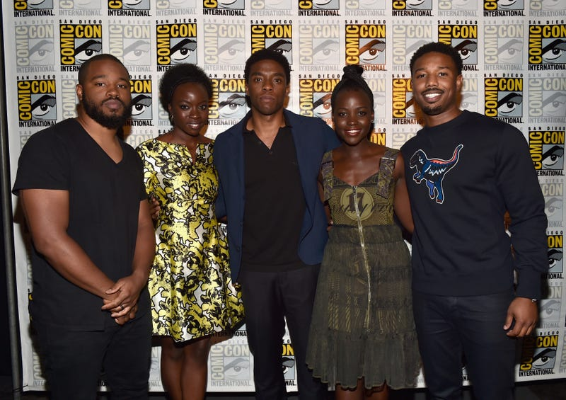 """Director Ryan Coogler and actors Danai Gurira, Chadwick Boseman, Lupita Nyong'o and Michael B. Jordan from Marvel Studios' Black Panther"""" at the San Diego Comic-Con on July 23, 2016, in San Diego (Alberto E. Rodriguez/Getty Images for Disney)"""