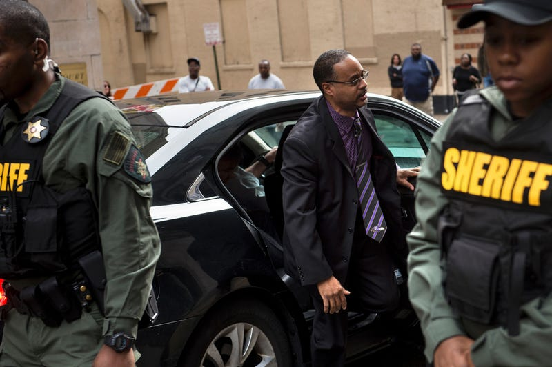Baltimore Police Officer Caesar Goodson Jr. arrives for his murder trial in the death of Freddie Gray at the Baltimore Circuit Court House on June 23, 2016.RENDAN SMIALOWSKI/AFP/Getty Images