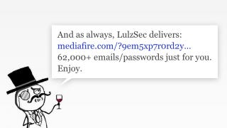 Illustration for article titled LulzSec Leaks 62,000 Email/Password Combo Internet Goodie Bag (Updated)