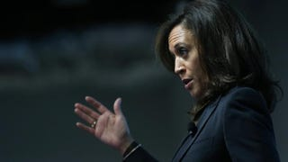 California Attorney General Kamala Harris delivers a keynote address during a Safer Internet Day event at Facebook headquarters in Menlo Park, Calif., Feb. 10, 2015. Justin Sullivan/Getty Images
