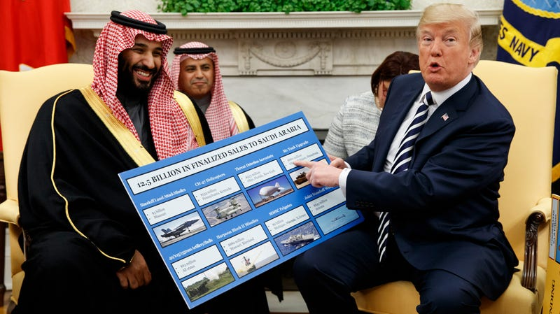 President Donald Trump and Saudi Crown Prince Mohammed bin Salman at a meeting in the White House on March 20, 2018, at an event touting U.S. arms sales to the Saudi military.