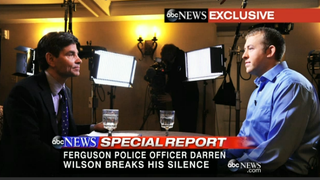 Ferguson, Mo., police Officer Darren Wilson (right) talks to ABC News' George Stephanopoulos.ABC NEWS SCREENSHOT