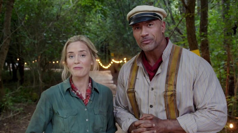 Emily Blunt and Dwayne Johnson on set of Jungle Cruise.