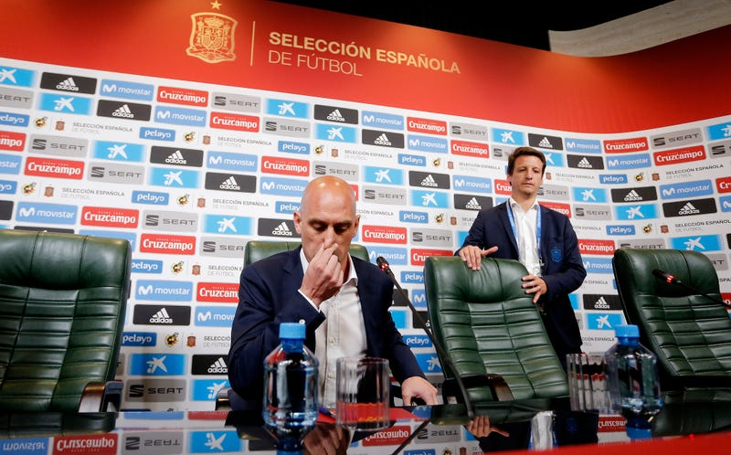 Luis Manuel Rubiales talks to the media after the decision to dismiss Julen Lopetegui.