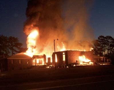 Macedonia Church of God in Christ burns.